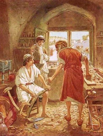 De jonge Jezus werkt als timmerman bij zijn vader Jozef