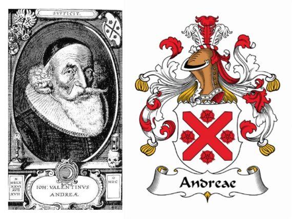 Familiewapen van Johann Valentin Andreae auteur manifesten rozenkruisers