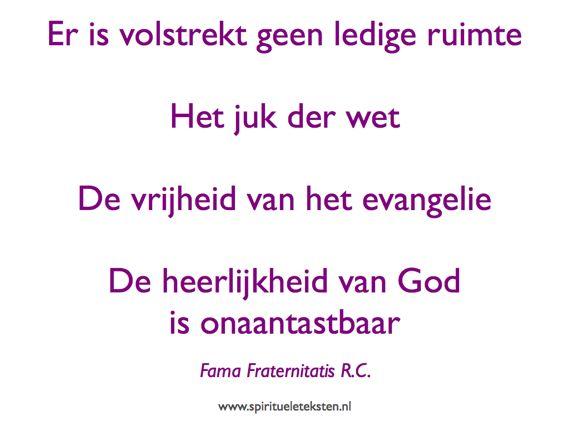 Er is geen ledige ruimte citaat spirituele teksten Fama Fraternitatis RC rozenkruisers broederschap 570