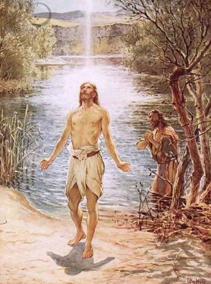 Johannes de Doper doopt Jezus in de Jordaan en de Heilige geest daalt neer William Brassey Hole