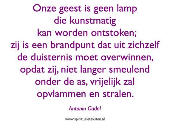 Onze geest is geen lamp ontstoken vlammen stralen citaten spirituele teksten Antonin Gadal