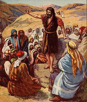 johannes de Doper draagt kemelsharen mantel en preekt in de woestijn