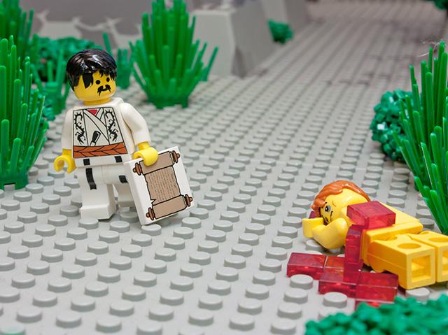 Priester wetgeleerde barmhartige Samaritaan lego