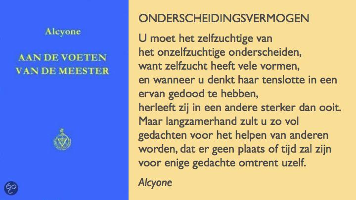 Alcyone over ondersceidingsvermogen in Aan de voeten van de meester.083