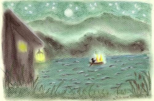 de veerman en de twee dwaallichten op de rivier in het sprookje van Goethe